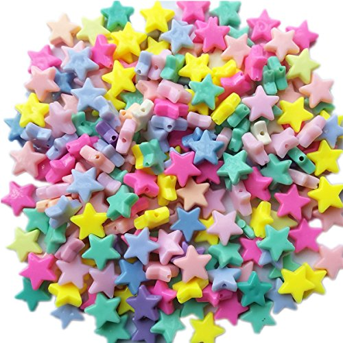 Qingxi Charm 120pcs Mix Lots Colorful Acrylic Star Bead for Hairband Bracelets Necklace Jewelry DIY Handmaking]()