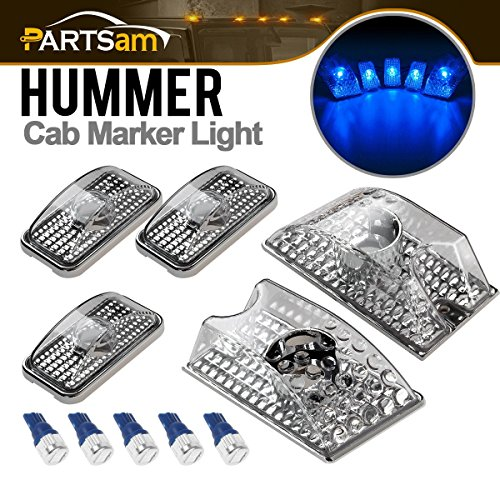 L Clear Cover Lens Cab Marker Roof Top Clearance Crystal Chrome Lights+5PCS Blue T10 LED Bulbs 194 168 W5W Replacement for 2003 2004 2005 2006 2007 2008 2009 Hummer H2 SUV SUT ()