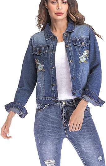 Mujeres Cazadora Vaquera Suelto Ajuste Bordada Manga Larga Boyfriend Abrigo Denim Jacket Azul XXL: Amazon.es: Ropa y accesorios