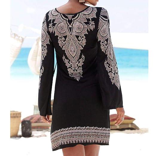 ❤ Vestido de Playa Mujer,Modaworld Vestido Largo de Playa con Estampado de Boho de Manga Larga para Mujer Vestido Casual Elegante niña Ropa de Cóctel ...