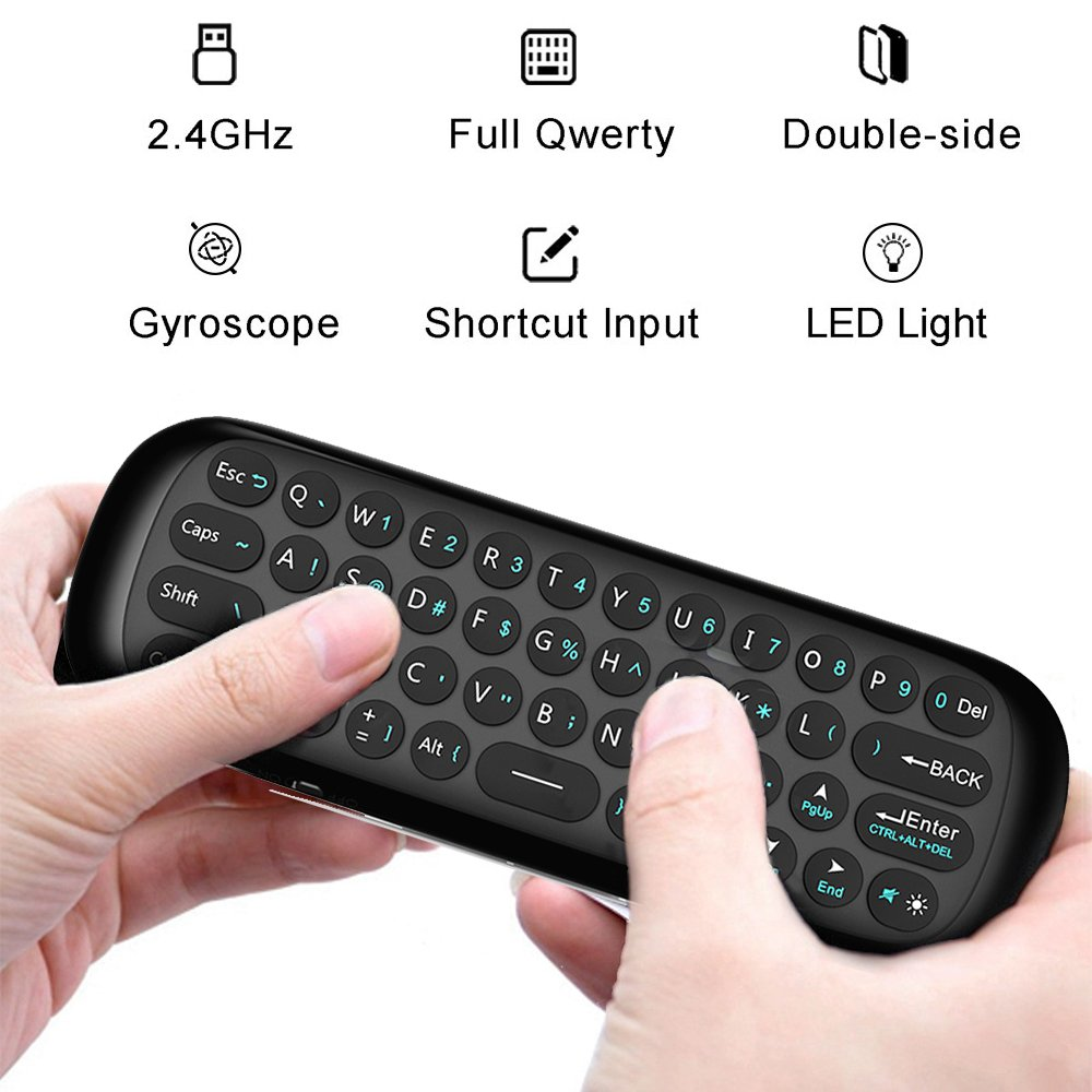 Air Mouse con teclado,Linstar 2.4G Mini inalámbrico de doble cara teclado de control remoto y ratón de aire para TV Box,2.4G Motion Smart TV Android Box de ...