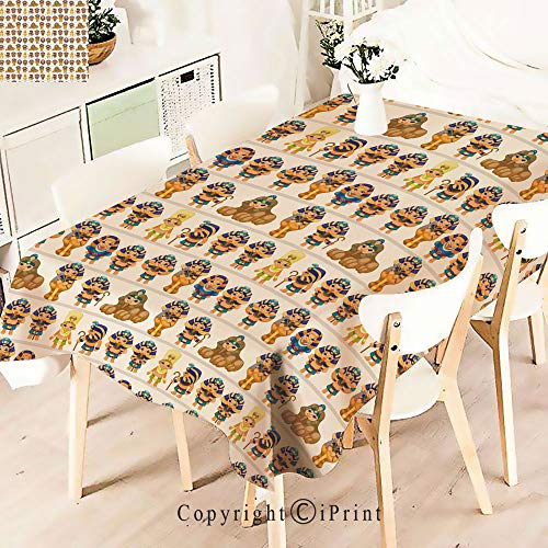 Durable Rectangle Tablecloth Print Table Cover for Home and Party Decoration,Design with Egyptian Cartoon Ancient Figures,Indoor Outdoor Party Picnic Easy Care Washable Table Cloth,W55 xL55,Multicol -