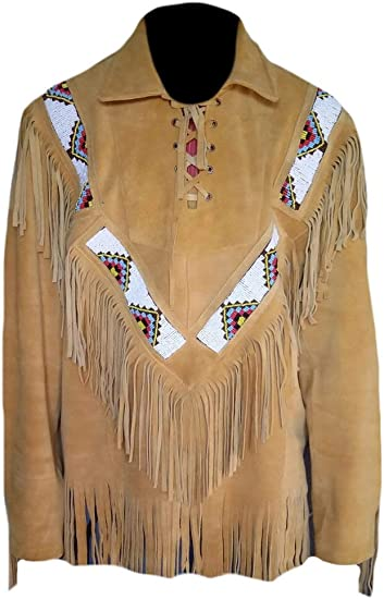 SleekHides Mens Suede Leather Western Arrow Vest with Fringes /& Beads
