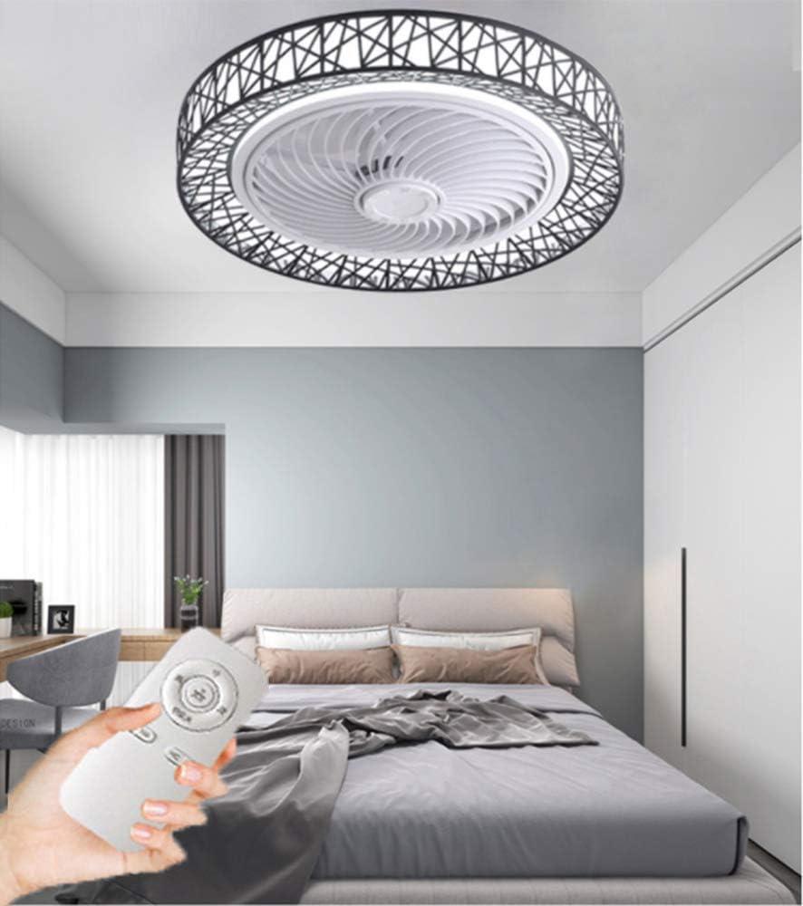 CDwxqBB Ventilador De Techo Ventilador De Lámpara De Techo LED, Regulable Y Velocidad del Viento, con Control Remoto, Dormitorio Silencioso, Sala De Estar, Lámpara con Ventilador De Lámpara,Negro