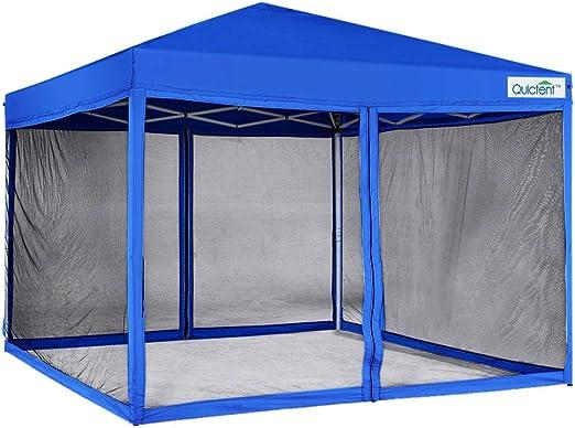 Quictent 10x10 Ez Tienda de campaña con toldo desplegable con mosquitera para casa, Tienda de campaña, Paredes Laterales de Malla, Bolsa Impermeable con Ruedas (Azul Real): Amazon.es: Jardín