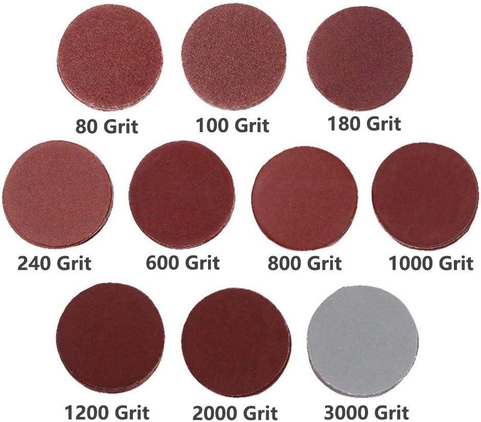 3 inch Hook & Loop Sanding Discs, DeSS Aluminium Oxide Sander Disc 80/100/ 180/240/ 600/800 /1000/1200 /2000/3000 Grit Pack of 100