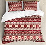 Ambesonne Nordic Duvet Cover Set Queen Size, Ancestral Classic Scandinavian Geometric Pattern Christmas Snowflakes, Decorative 3 Piece Bedding Set with 2 Pillow Shams, Dark Coral Blush White