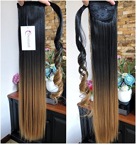 Long Straight Wavy Ombre Dip Dyed Wrap around Ponytail (Straight- Natural black to honey blonde)