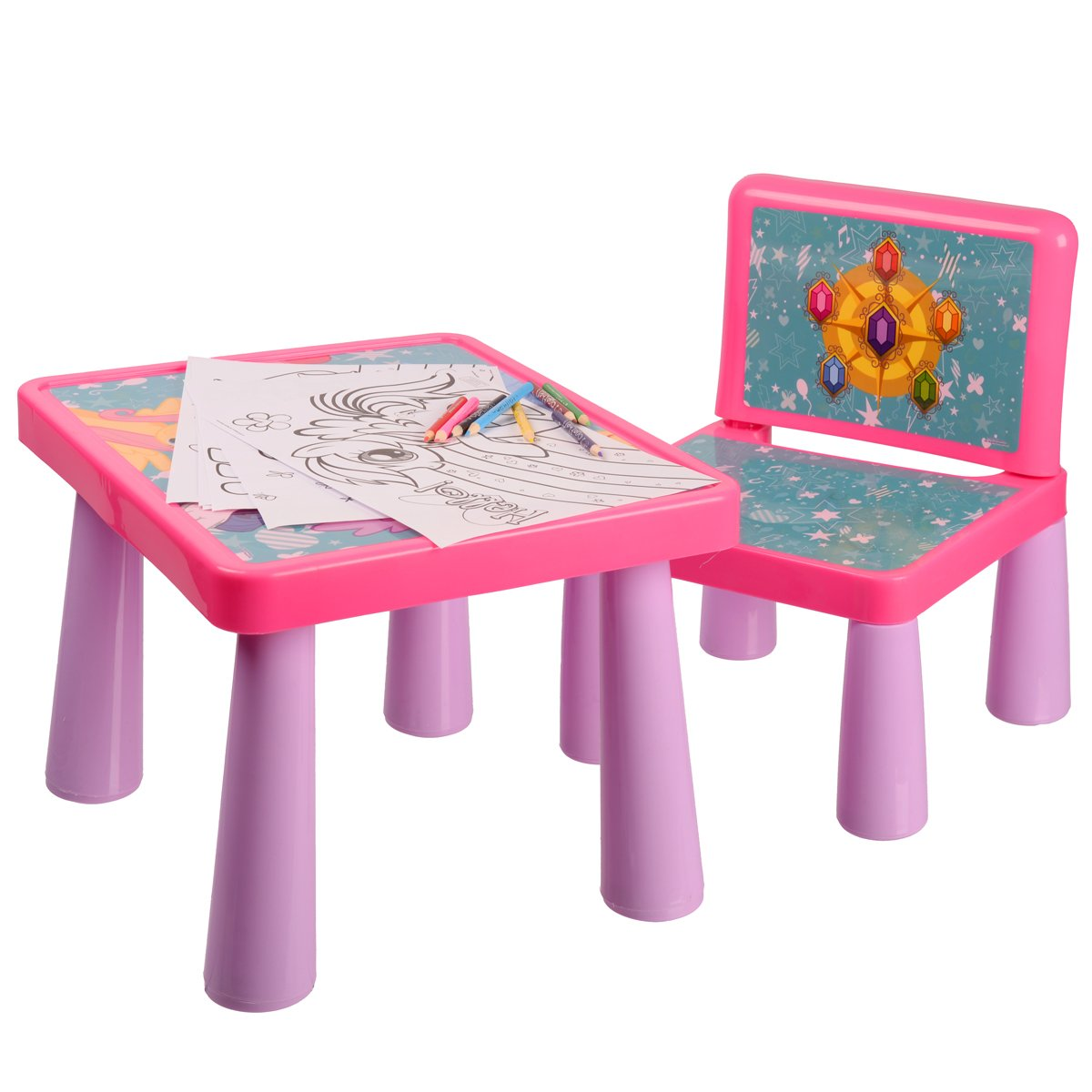 tavolo da disegno con rotolo carta e cassetto in legno per la ... - Tavolo Da Disegno Per Bambini