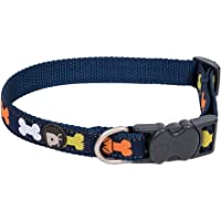 Petface Coloured Bones Dog Collar, Navy Blue