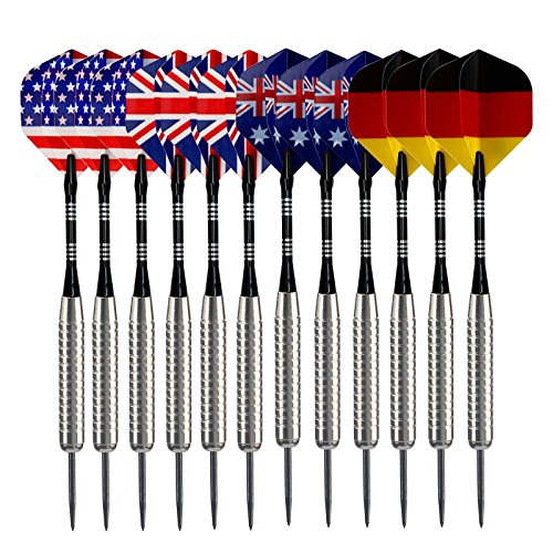 Cheapest Price! Sametop 12 Packs Steel Tip Darts Set 22 Grams with Different Style Flights, Aluminum...