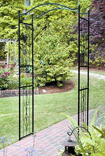 7.5' Metal Arch (Garden Arch 7.5-ft Tall Outdoor Decorating Metal Arbor Black Frame with English Traditional Design)