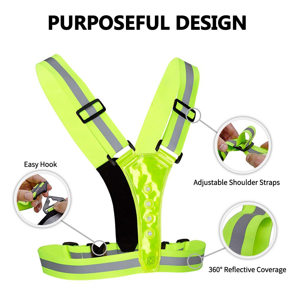 Adjustable Stretch Waist Belt for Safe Running Biking NORYER LED Reflective Vest with Phone Storage Pouch Jogging 3 Mode High Visibility Dog Walking