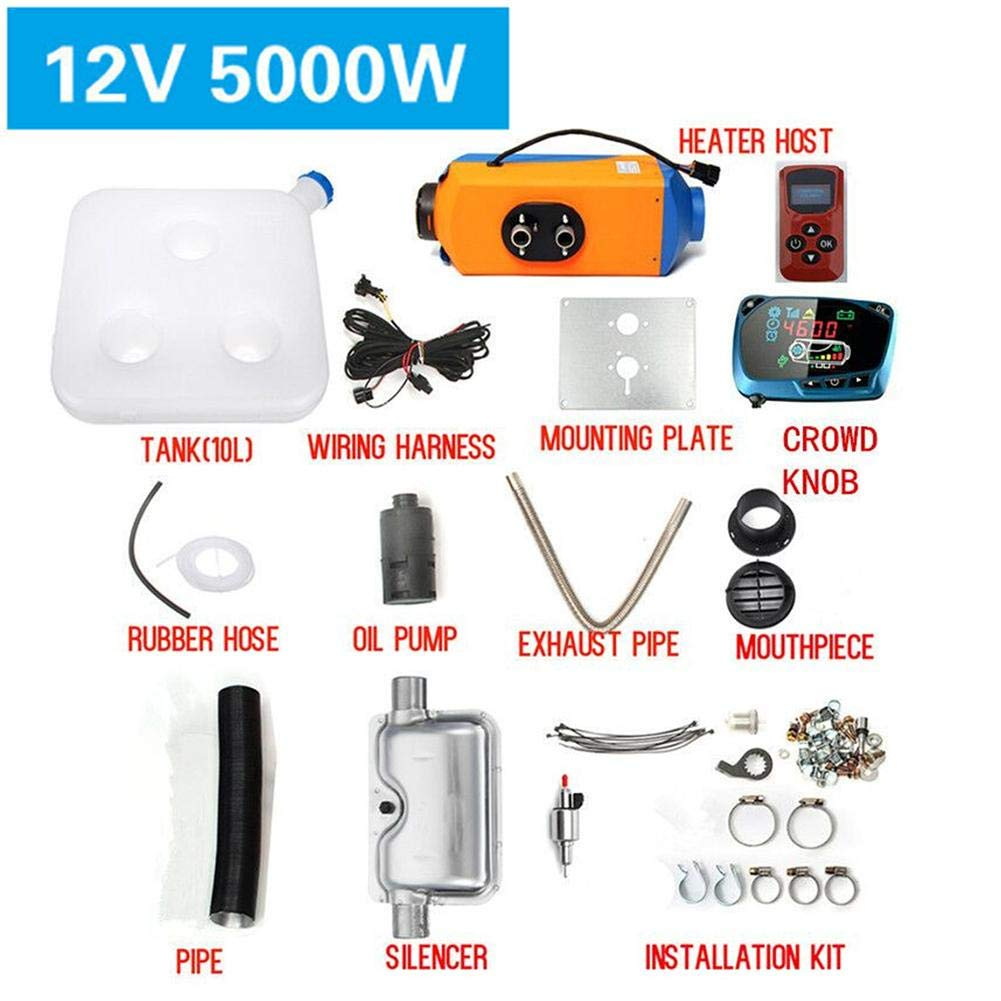 Yunt Riscaldatore del Carburante Diesel dell'Aria, 12V 5KW Car Parking Riscaldatore del Veicolo Riscaldatore Elettrico Raffreddamento Monitor LCD Termostato per Camper/rimorchio / Camion/Barche