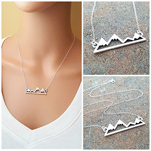 Mountain Bar Necklace - The Mountains Are Calling - Sterling Silver (Mountain Necklace)