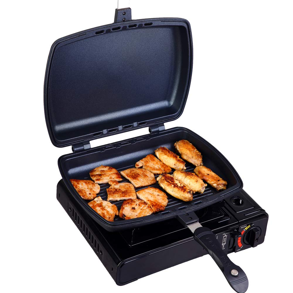 YONATA Double Sided Portable BBQ Grill Pan,Separate Detachable Double Pan Nonstick Barbecue Plate For Indoor and Outdoor Cooked Chicken,Fish,Egg by YONATA (Image #9)
