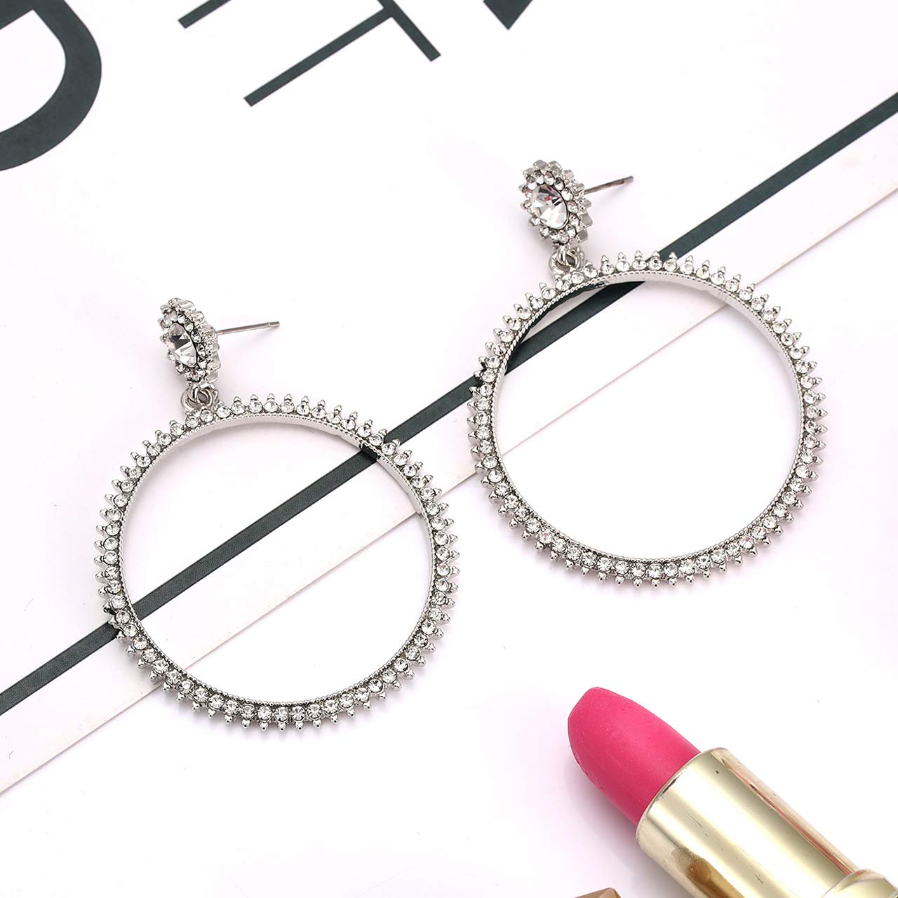 XOCARTIGE Crystal Hoop Earrings Colorful Rhinestone Drop Dangle Earrings Studs for Women Girls