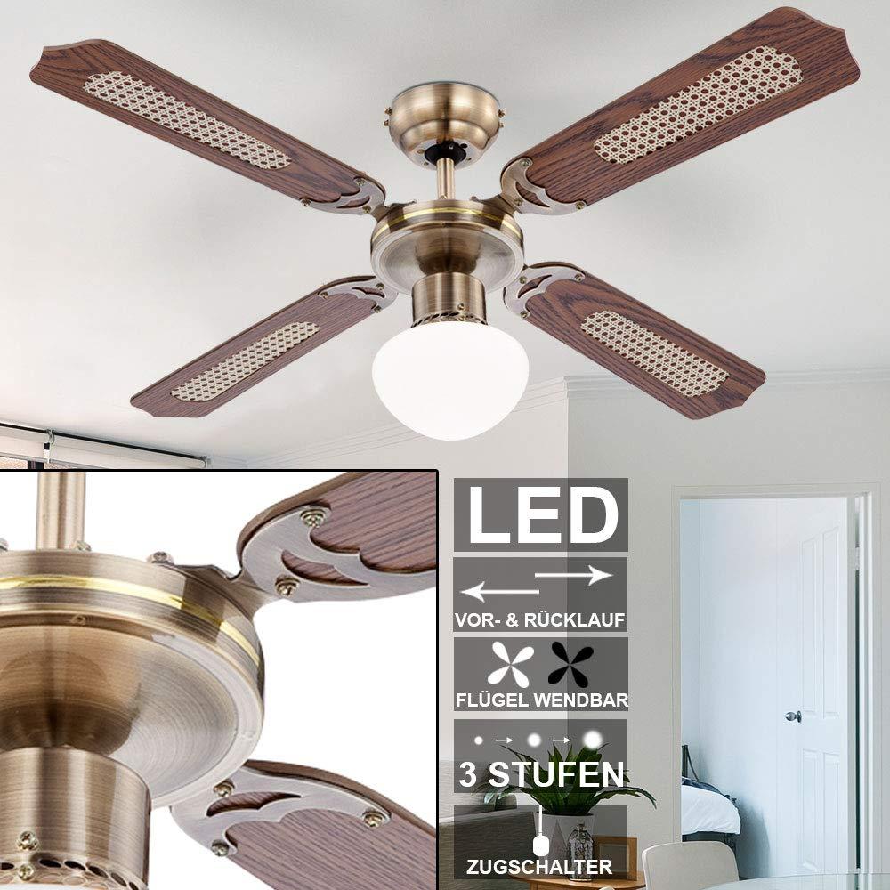 Rustikaler LED Decken Ventilator 7 Watt Leuchte K/ühler Beleuchtung Zug Schalter