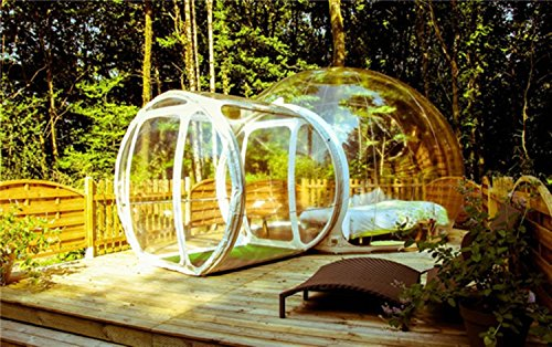LeaningTech BT-02 Outdoor Single Tunnel Inflatable Transparent Bubble Tent House, Family Camping Tents, Dome Shape, Clear Show Room (4.0m Transparent)