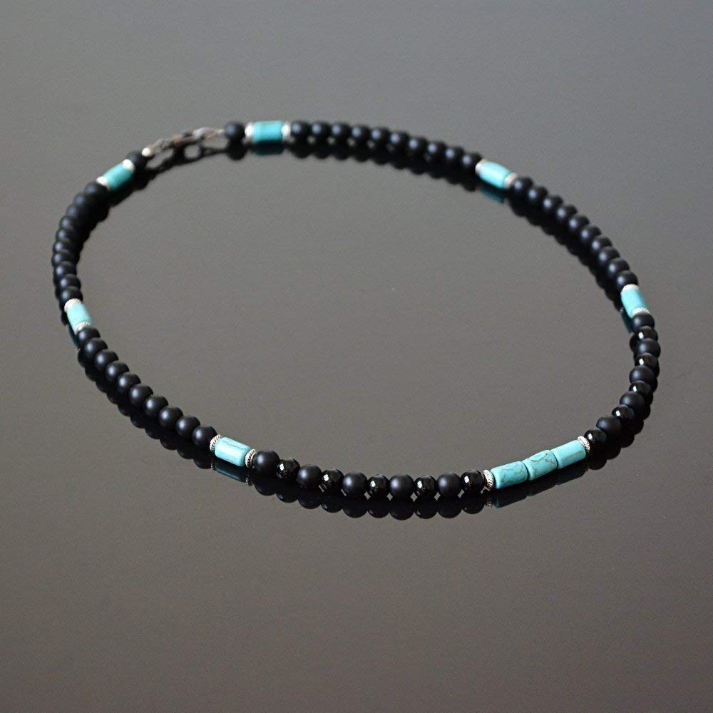 Native American Inspired Surfer Handmade Beaded Choker Mens Necklace Black Onyx and Howlite Natural Stone Choker for Men