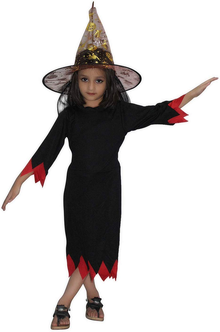 Kaku Fancy Dresses Witch Costume with Cap/California Cosplay Halloween  Costume -Black, 6-6 Years, for Girls