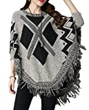 QZUnique Women's Batwing Tassels Poncho Cape Shawls Sweater Cloak Sleeves Coffee