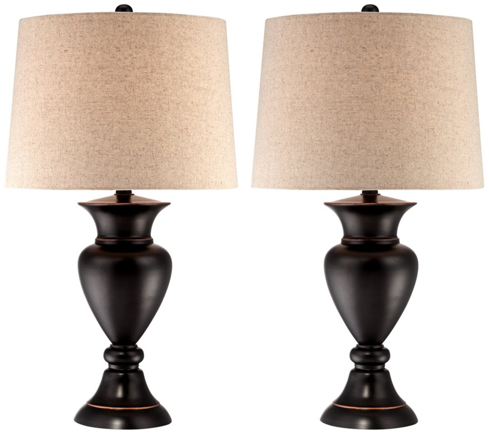 Set of 2 metal urn bronze table lamps amazon aloadofball Images