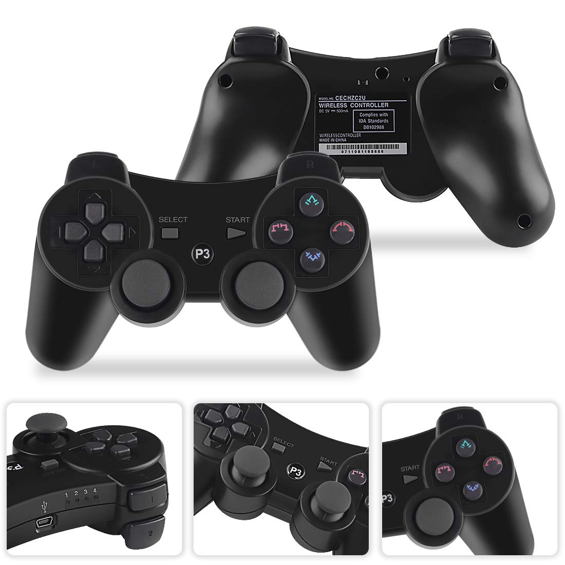 Molgegk 2 Packs Wireless Bluetooth Controller for PS3 Playstation 3 Double Shock Black and Black Bundled with USB Charge Cord