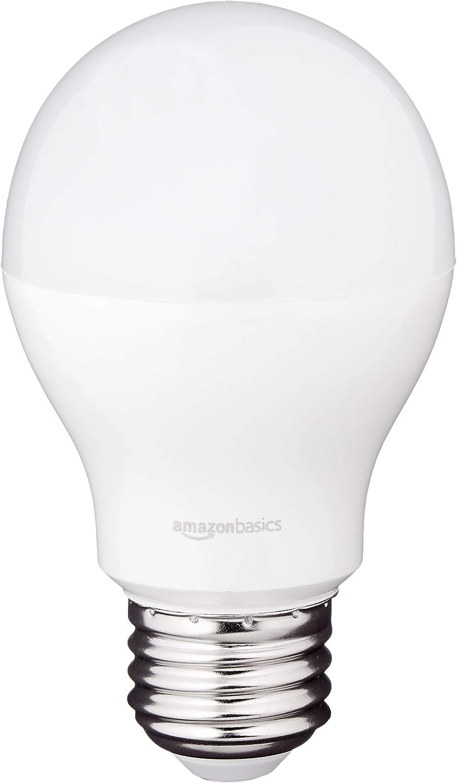AmazonBasics 60 Watt Equivalent, Soft White, Dimmable, 15,000 Hour Lifetime, A19 LED Light Bulb, 2-Pack