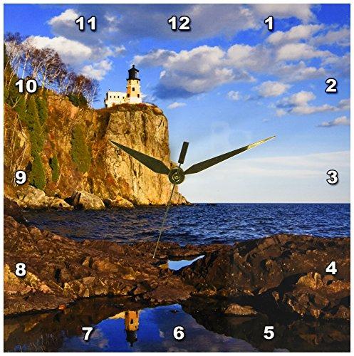 3dRose dpp_91378_1 USA, Minnesota, Split Rock Lighthouse, Lake Superior - US24 DSV0010 - David Svilar - Wall Clock, 10 by 10-Inch Lake Superior Lighthouses