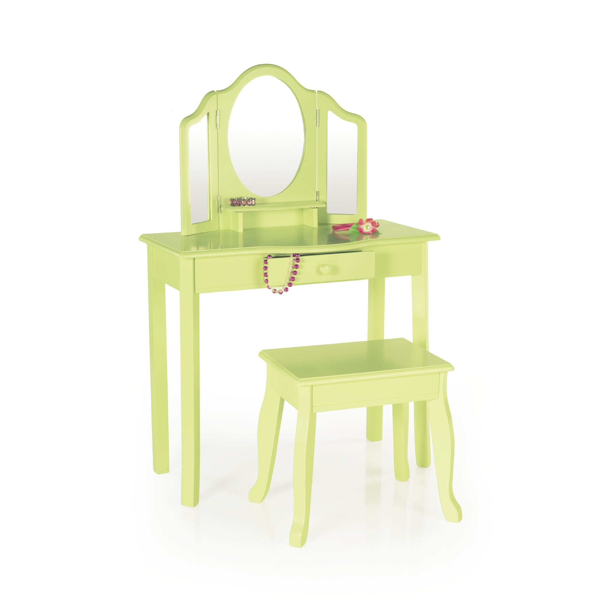 Guidecraft Vanity Table and Stool Set with Mirror and Make-Up Drawer - Children's Furniture - Light Green