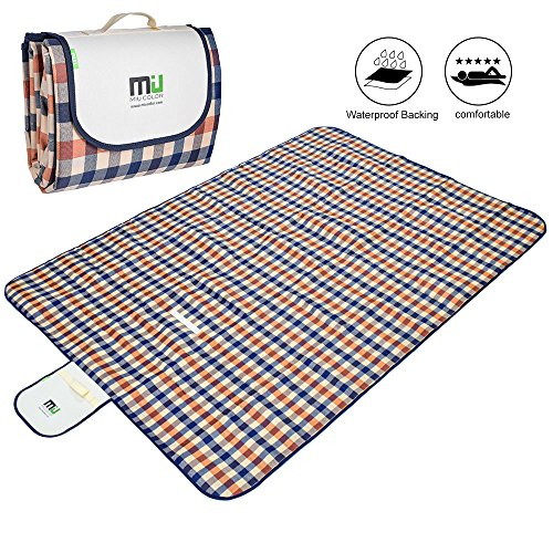 "Large Foldable Picnic Blanket Waterproof Beach 78""x57"" Camping Outdoor Blanket Mat by MIUCOLOR for Travelling Hiking GrassTriple Layers"