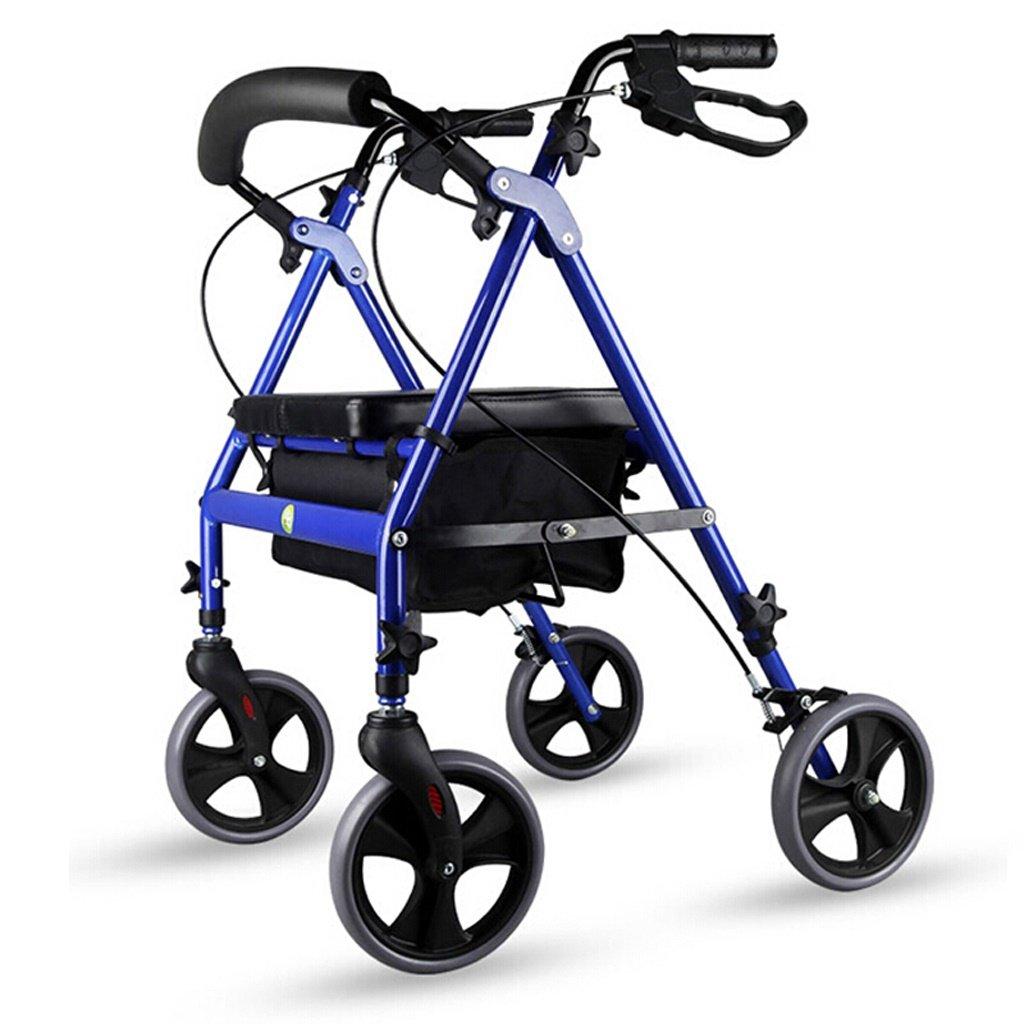 折りたたみ式ローラーウォーカー - 4輪医療ローリングウォーカー(収納バスケット付) - 大人用、シニア用、高齢者用、ハンディキャップ用 - アルミ製トランスポートチェア(ブルー) B07KRZNYPM