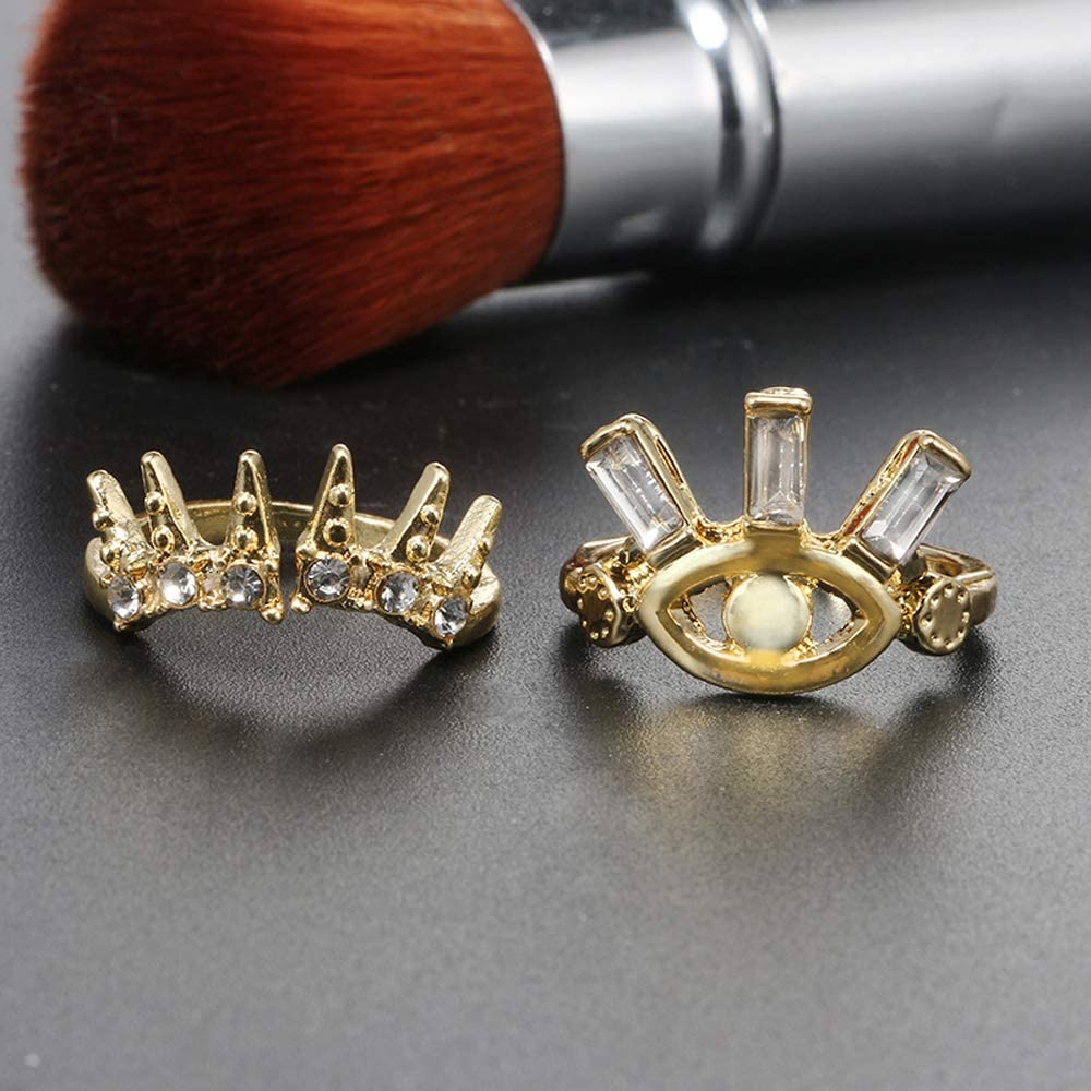 2Pcs Crystal CZ Gold Plated Statement Eye Crown Ring Joint Geometry Stackable Ring for Women Art Cocktail Fashion Ring