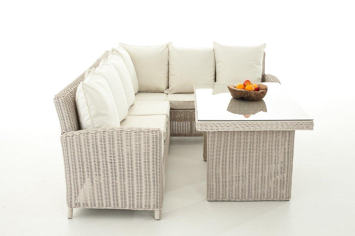 Sofa-Garnitur CP056, Lounge-Set Gartengarnitur, Poly-Rattan ~ Kissen creme, perlweiß
