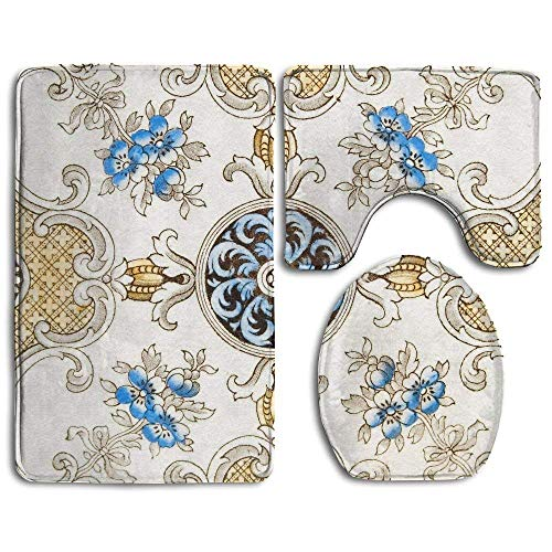 - HappyToiletLidCoverX an Antique Victorian Decorative Wall Tile Bathroom Rug 3 Piece Bath Mat Set Contour Rug and Lid Cover