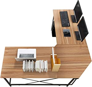 sogesfurniture Large L-Shaped Desk 59 x 59 inches Corner Table Computer Desk Workstation Desk PC Laptop Office Desk L Desk, Oak BHUS-LD-Z01-OK