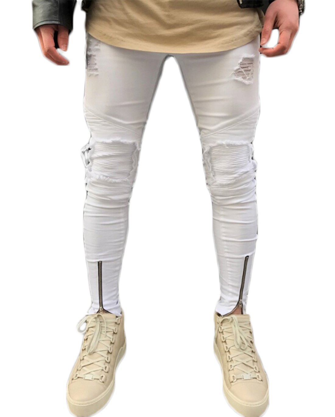 Men's Ripped Skinny Distressed Destroyed Slim Fit Stretch Zipper White Jeans Pants (32)