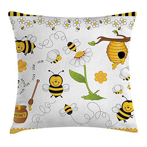(lsrIYzy Collage Decor Throw Pillow Cushion Cover, Flying Bees Daisy Honey Chamomile Flowers Spring Themed Animal Print, Decorative Square Accent Pillow Case, 18 X18 inches, Yellow White Black)