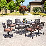 DOMI OUTDOOR LIVING Rainier Cast Aluminum Outdoor Patio Set 7-Piece Powder Coated with 59''x35'' Rectangle Dining Table,4 Dining Chairs,2 Swivel Chairs,Antique Bronze