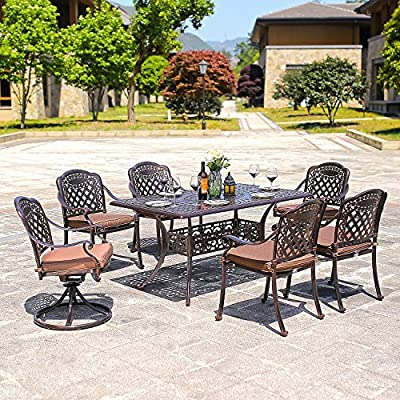 "DOMI OUTDOOR LIVING Rainier Cast Aluminum Outdoor Patio Set 7-Piece Powder Coated with 59""x35"" Rectangle Dining Table,4 Dining Chairs,2 Swivel Chairs,Antique Bronze - Search B01N0RJSXZ, B01MXYVK1 or B01MRY4SZV to get the umbrella showing on the picture Made of genuine cast aluminum with Powder Coated Satin finish; Sesame-Colored seat cushion made of 100-percent polyester Comfortable seating Low maintenance care durable and quality - patio-furniture, dining-sets-patio-funiture, patio - 61cYe7x3LTL. SS400  -"