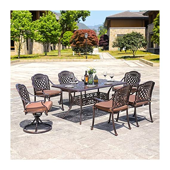 "DOMI OUTDOOR LIVING Rainier Cast Aluminum Outdoor Patio Set 7-Piece Powder Coated with 59""x35"" Rectangle Dining Table,4 Dining Chairs,2 Swivel Chairs,Antique Bronze - Search B01N0RJSXZ, B01MXYVK1 or B01MRY4SZV to get the umbrella showing on the picture Made of genuine cast aluminum with Powder Coated Satin finish; Sesame-Colored seat cushion made of 100-percent polyester Comfortable seating Low maintenance care durable and quality - patio-furniture, dining-sets-patio-funiture, patio - 61cYe7x3LTL. SS570  -"