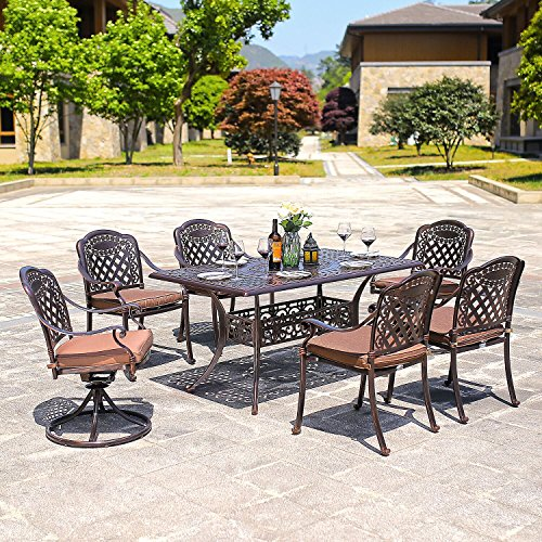 Aluminum 7 Piece Patio - DOMI OUTDOOR LIVING Rainier Cast Aluminum Outdoor Patio Set 7-Piece Powder Coated with 59