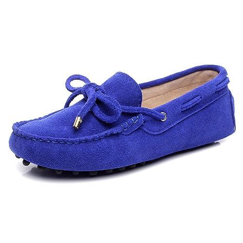 Rismart Mujer Ponerse Conducción Coche Casual Gamuza Cuero Mocasines Zapatos: Amazon.es: Zapatos y complementos