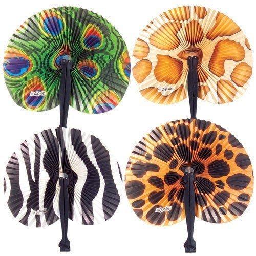 Safari Folding Fans : (2-Pack of 12) (Animal Print Centerpiece)