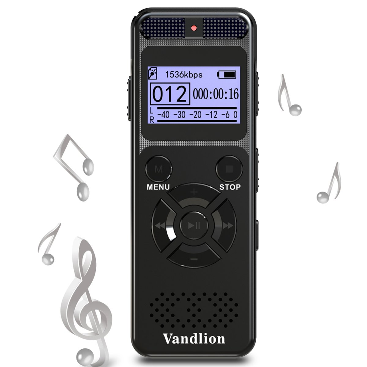 Voice Recorder Vandlion 8GB Digital Audio Sound Recorder Dictaphone for Lectures,Voice Activated Recorder with MP3 Player,Double Microphone