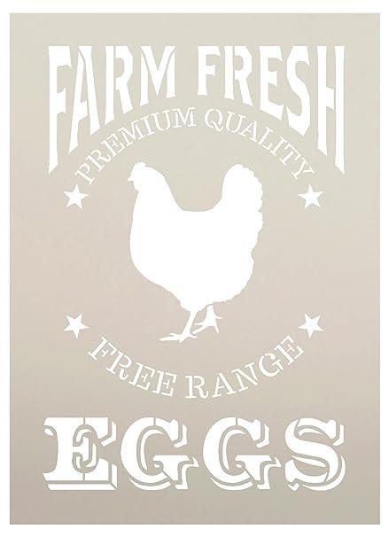amazon com farm fresh eggs chicken stencil by studior12 reusable