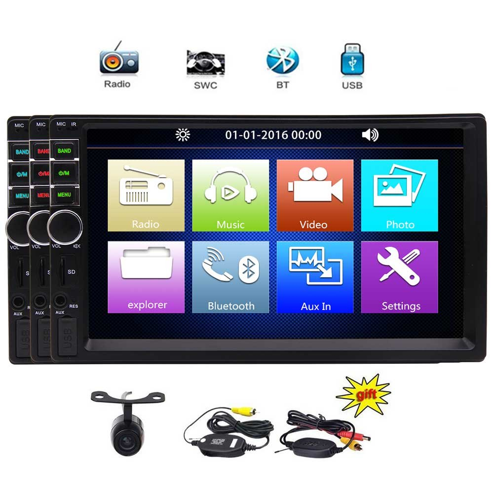 EinCar 7'' Touch Screen Car Stereo Radio Receiver Double 2 Din In Dash GPS Navigation Car MP5 MP3 Player Bluetooth Car Audio Multimedia System Support 1080P Video AUX +Backup Camera GoodWill Sky YH.MP5.251GNN+FcamABC
