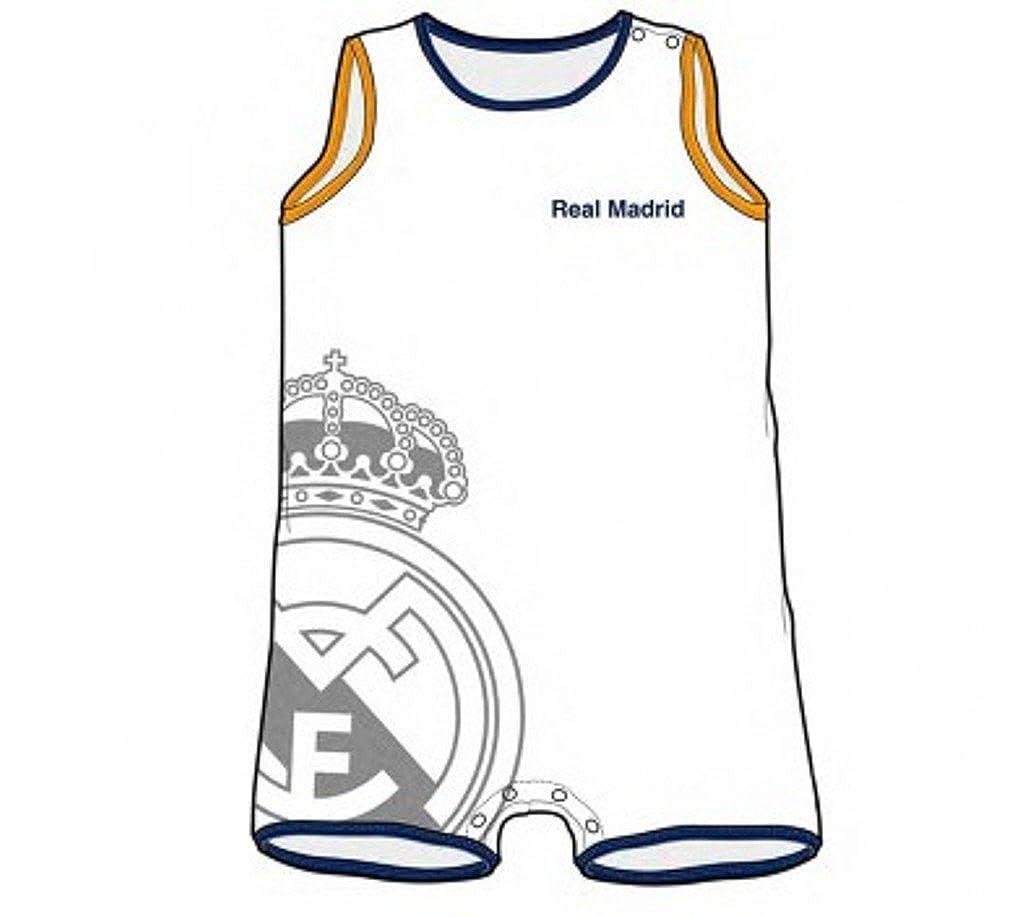 Real Madrid Pelele Bebé Sin Manga Escudo (6 Meses): Amazon.es: Ropa y accesorios