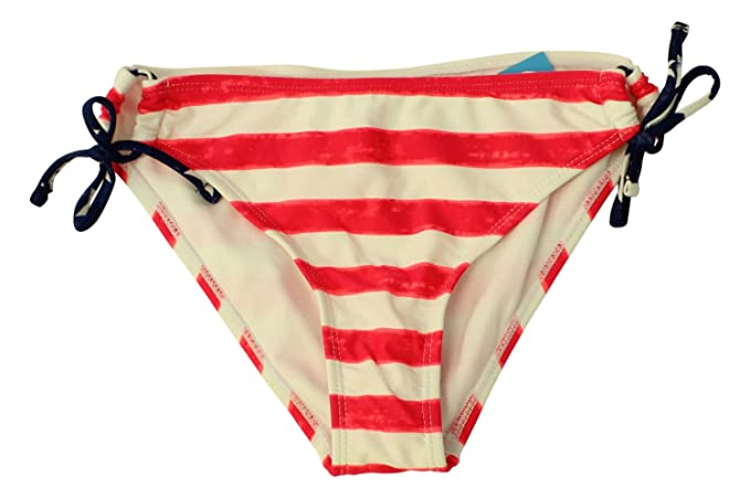 Image Unavailable. Image not available for. Color  California Waves Women s  Striped Side Tie Bikini Bottom Red White XL 5506ffb00